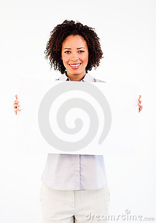 Young businesswoman showing big white card