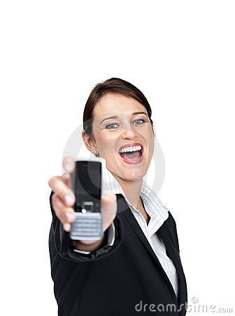 Young businesswoman showing her new mobile phone