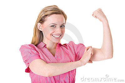 Young businesswoman shows strength and power