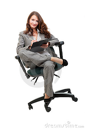 Young businesswoman siiting on office chair