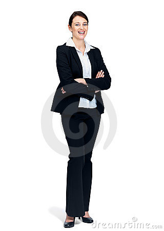 Young businesswoman standing with folded hands