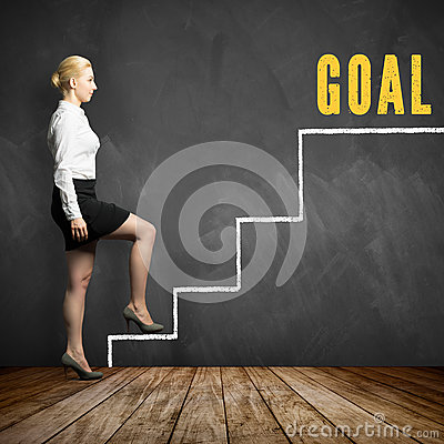 Free Young Businesswoman Taking First Step Towards Her Goal Royalty Free Stock Photo - 92559445