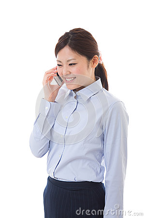Young businesswoman telephone