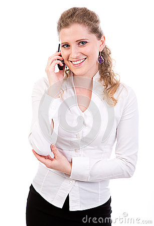 Young businesswomen  on mobile phone