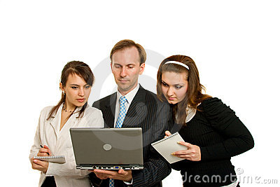 Young businesswomen and young businessmen