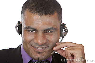 Young call center agent with headset