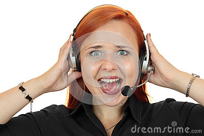 Young call center secretary consultant woman screaming on the phone