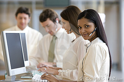 Young call center woman