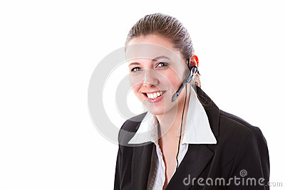Young call centre employee with a headset