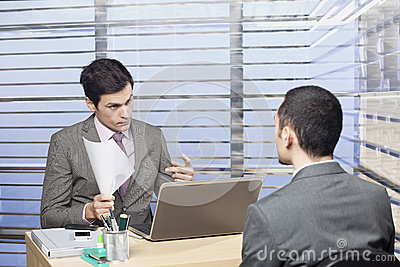 Young candidate at the job interview - concept