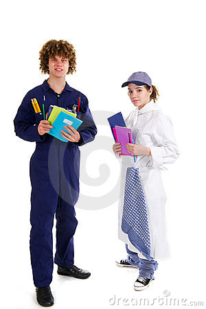 Young carpenter and female cook at school