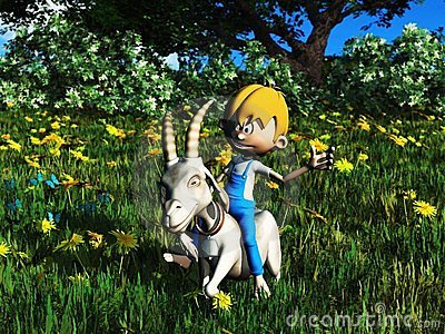 Young cartoon boy riding pet goat.