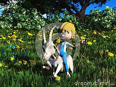 Young cartoon boy riding pet goat.