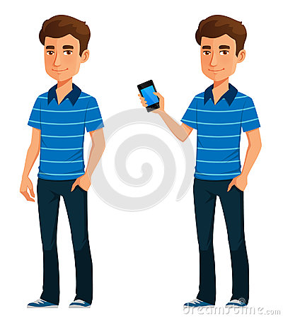 Free Young Cartoon Guy Holding A Mobile Phone Stock Images - 83386634