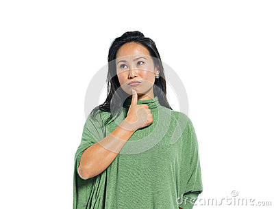 A Young Casual Asian Woman Thinking Stock Photo