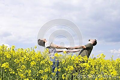 Young casual couple enjoying summer