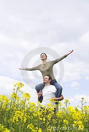 Young casual couple enjoying summer
