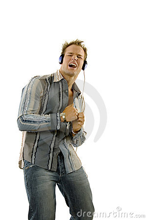 Young casual man listening music