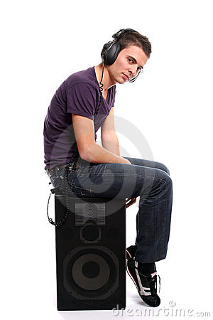 Free Young Casual Man Listening To Music Stock Photos - 5343423