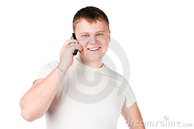 Young casual man with phone