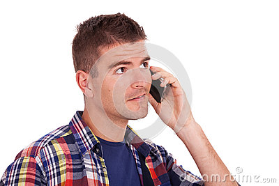 Young casual man on the phone