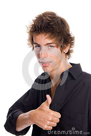 Young casual man with thumb up