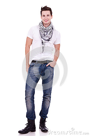 Young casual man wearing boots