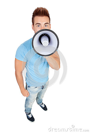 Young casual men with a megaphone