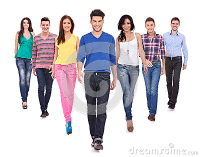Young casual people walking forward