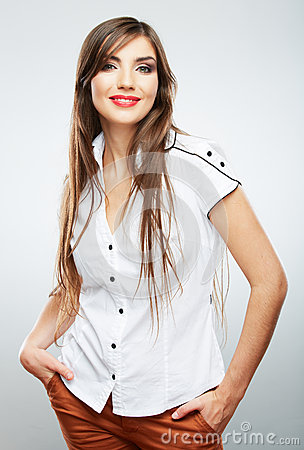 Young casual woman style  over white background.