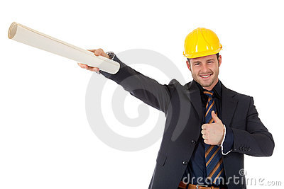 Young caucasian architect with plans, thumb up