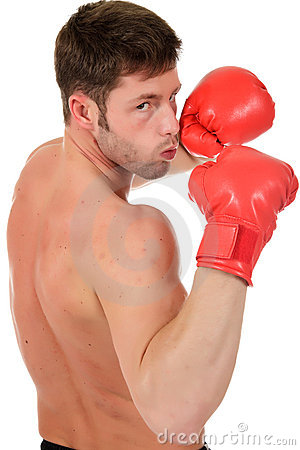 Young caucasian boxer
