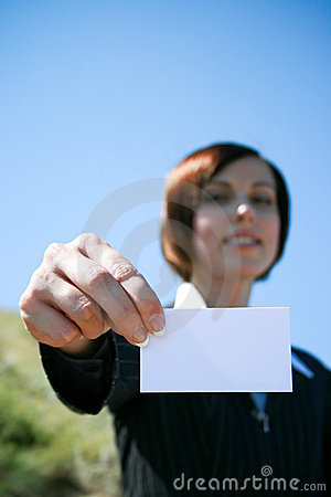 Young caucasian business lady with sheet of paper