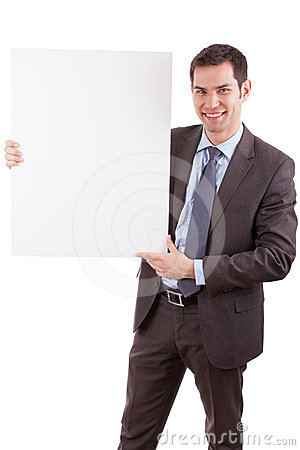 Young caucasian businessman holding a white board
