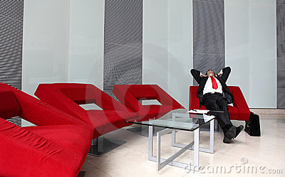 Young caucasian businessman in modern office