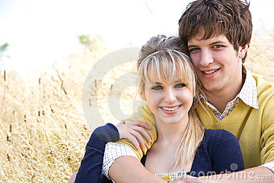 Young caucasian couple in love