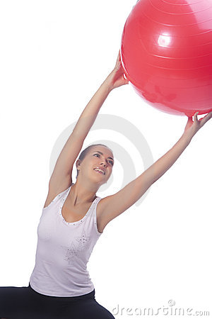 Young caucasian girl making regular exercise