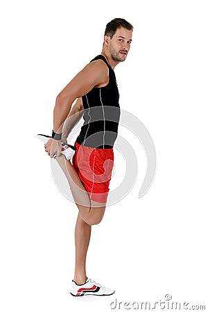 Young   caucasian man athlete, flexed leg