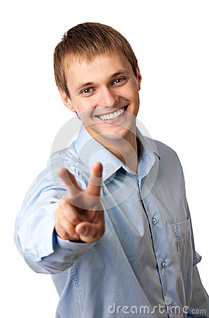 Young Caucasian man showing a peace sign
