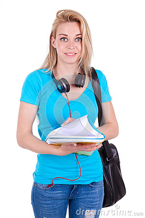 Young caucasian student  girl holding books - Caucasian people