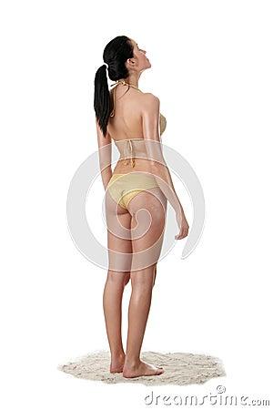 Young caucasian woman in bikini