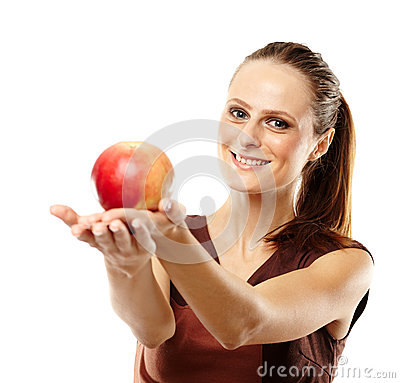 Young caucasian woman with red apple