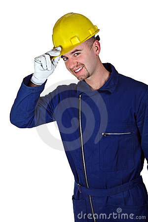 Young caucasian worker heavy industry