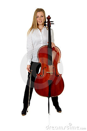 Young cellist son white background