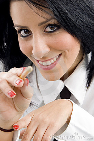 Young ceo pointing with pen