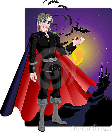 Young charming vampire with bats