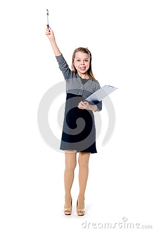 Young cheerful girl with a raised pen.