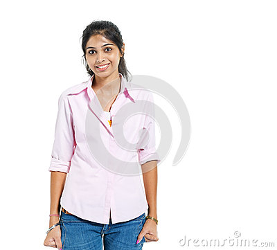 A Young Cheerful Indian Woman Stock Photo