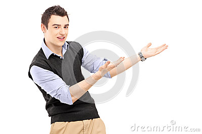 Young cheerful man gesturing