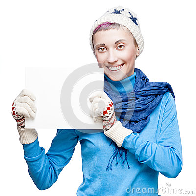 Young cheerful woman holding sign on white background